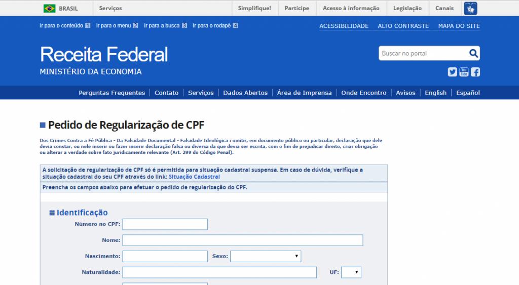 cpf com irregularidade no cadastro de pessoa física da receita federal